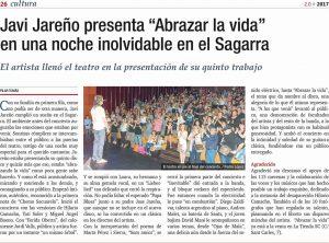 """Javi Jareño presenta """"Abrazar la vida"""" en una noche inolvidable en el Sagarra"""